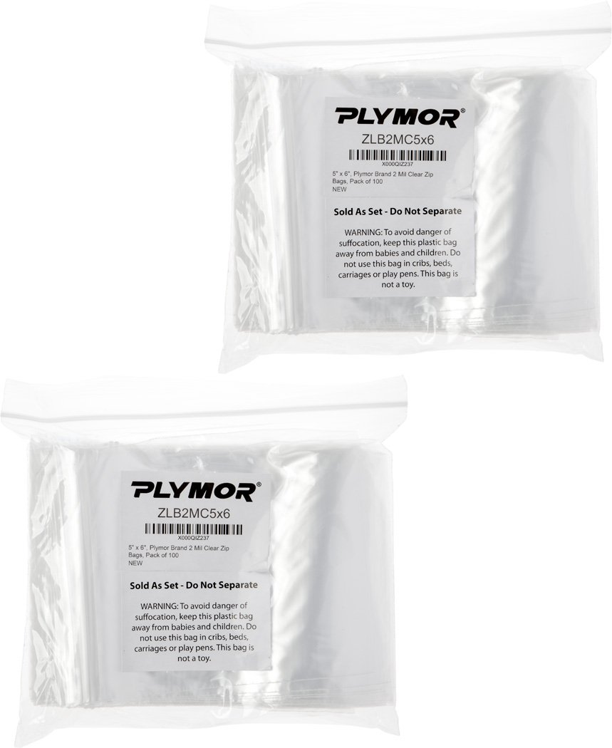 Plymor 5'' x 6'', 2 Mil (Pack of 200) Zipper Reclosable Plastic Bags by Plymor