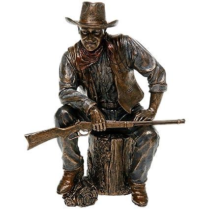 John Wayne Sitting On Log Bronze Statue - 51284  Amazon.co.uk  Kitchen    Home e82d43da31c8