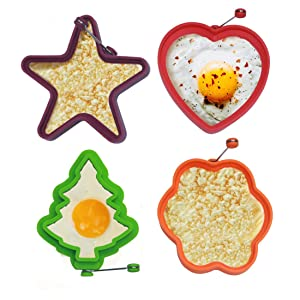 OWN KAN Silicone Fried Egg Ring Mold, Pack of 4, Non Stick Breakfast Pancake Shaper - Cooking Utensil, Funny Shapes of Heart, Tree, Star, Flower