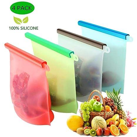 KESOVI Bolsas de Silicona Reutilizables,4 Piezas Bolsas de conservación,Bolsas de Comida, Bolsas de Silicona Preservación de Alimento Hermética para ...