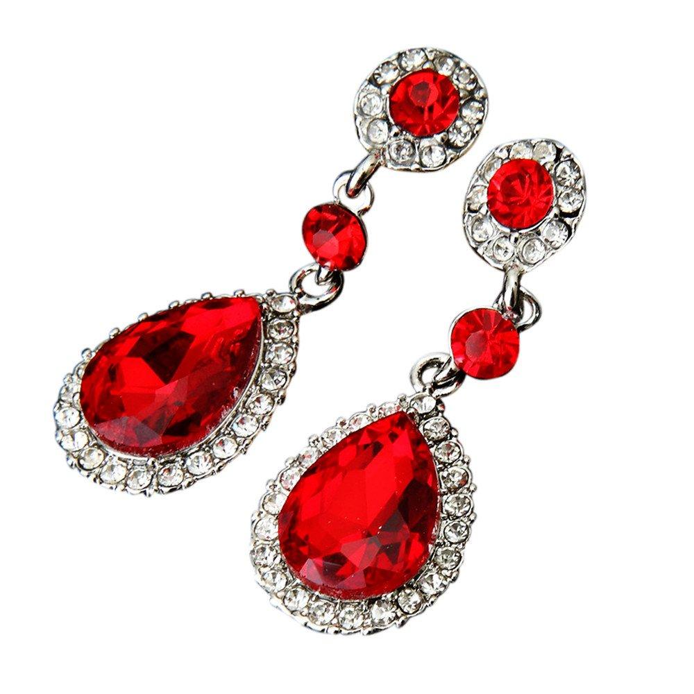 Minshao Wedding Jewelry Rhinestone Style Wedding Earrings for Women (Purple)