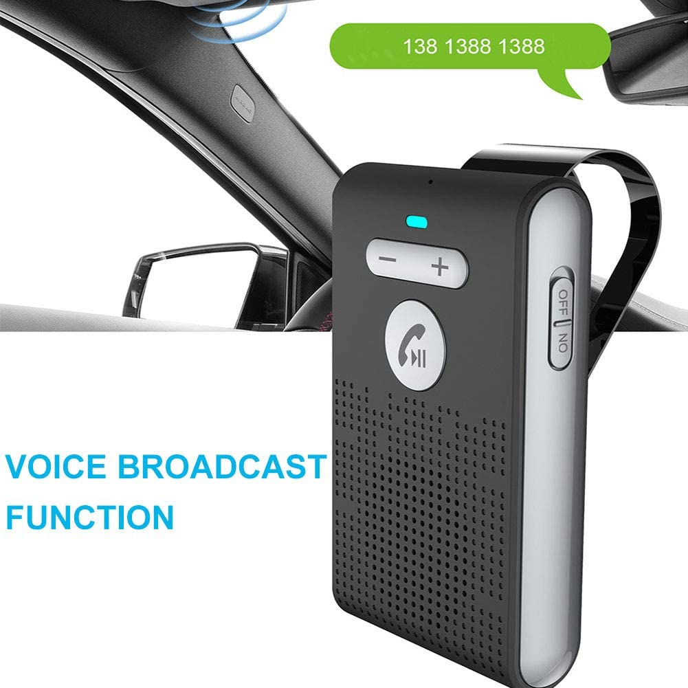GuangXin Bluetooth in-Car Speakerphone Car Kit AUTO Power ON Wirefree 4.1 Hands Free in Car Speakerphone Kits for Smartphone Devices