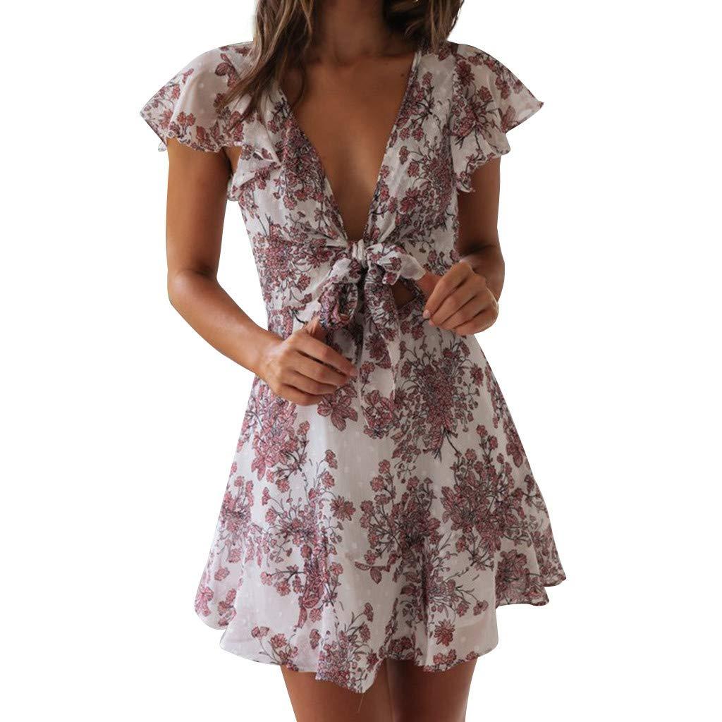 FEDULK Womens Ruffled Boho Floral Short Sleeve Deep V Neck Summer Beach Party Evening Sundress Mini Dress(Purple, X-Large)