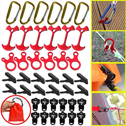 BSGB 43PCS -Aluminum Alloy Fish Bone Anchor Deck Plank Board Tent Stakes D Carabiner Wind Rope Buckle 3 Hole Guyline Adjuster Tent Cord Rope Tensioner Alligator Camping Tent Awning Tarp Clips