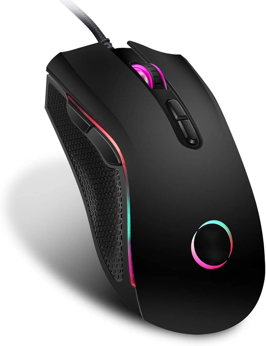 GSUMMER Gaming Mouse Backlight 7 Bright Colors Ergonomic LOL CS Design for Laptops Desktop Computers
