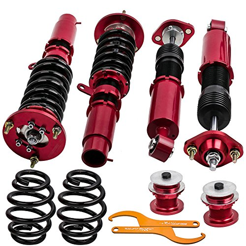 Coilovers Shock Suspension for 1998-2006 BMW E46 320i 323i 323Ci 325i 325ci 328i 328Ci 330i 330Ci M3 with Non-Adjustable Damper - Red