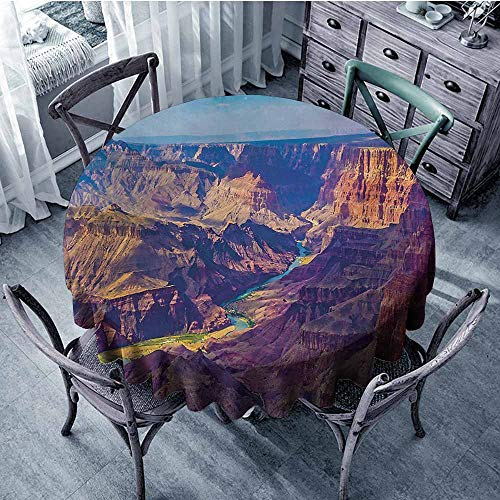 Sumilace Canyon Washable Table Cloth Aerial View of Epic Grand Canyon Activity of River Stream Over Rock Plateau Print Spill-Proof and Water 67