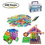 Building Blocks Flakes Set Toy 500 Pcs Snowflake Educational Toys Set Plastic Building Discs for Boys and Girls