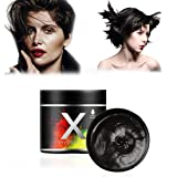 Black Hair Color Wax,One-time Temporary Modeling Natural Color Hair Dye Wax,Temporary Hairstyle Cream,Styling Wax for Party, Cosplay, Party, Masquerade,Nightclub,Halloween (Black) (Color: Black)