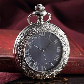 Plata números Romanos Reloj de Bolsillo mecánico, tirón
