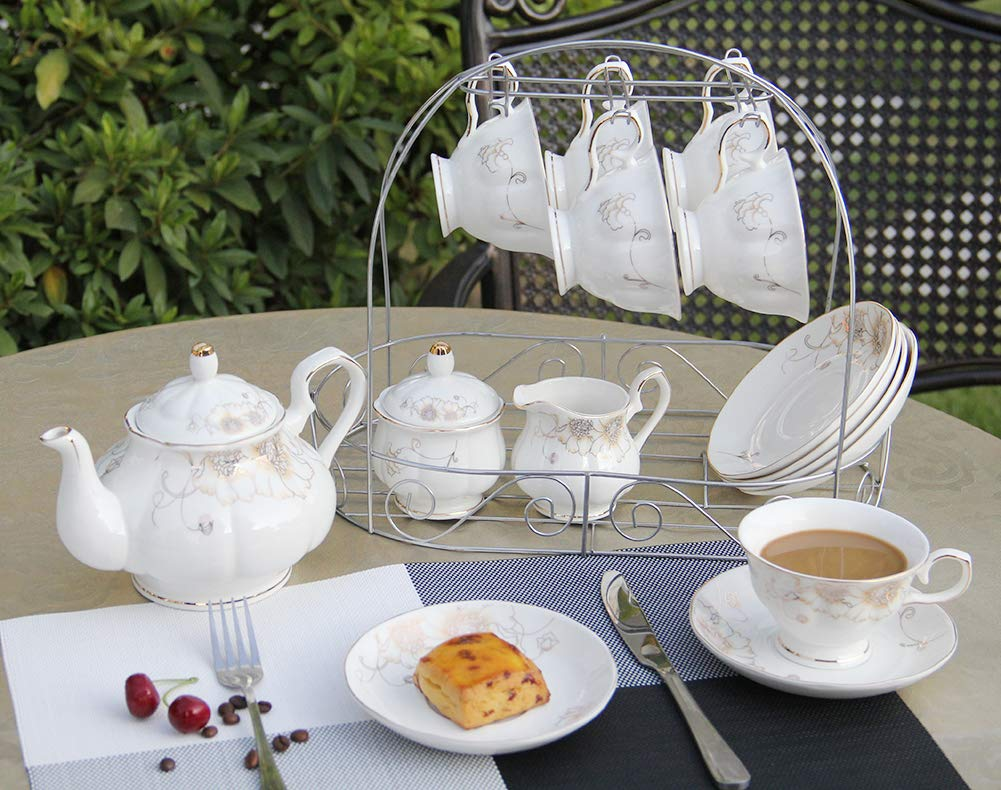 Porcelain Ceramic Coffee Tea Sets 15 Pieces with Metal Holder,Cups& Saucer Service for 6,with Teapot Sugar Bowl Cream Pitcher by CHP (Image #2)