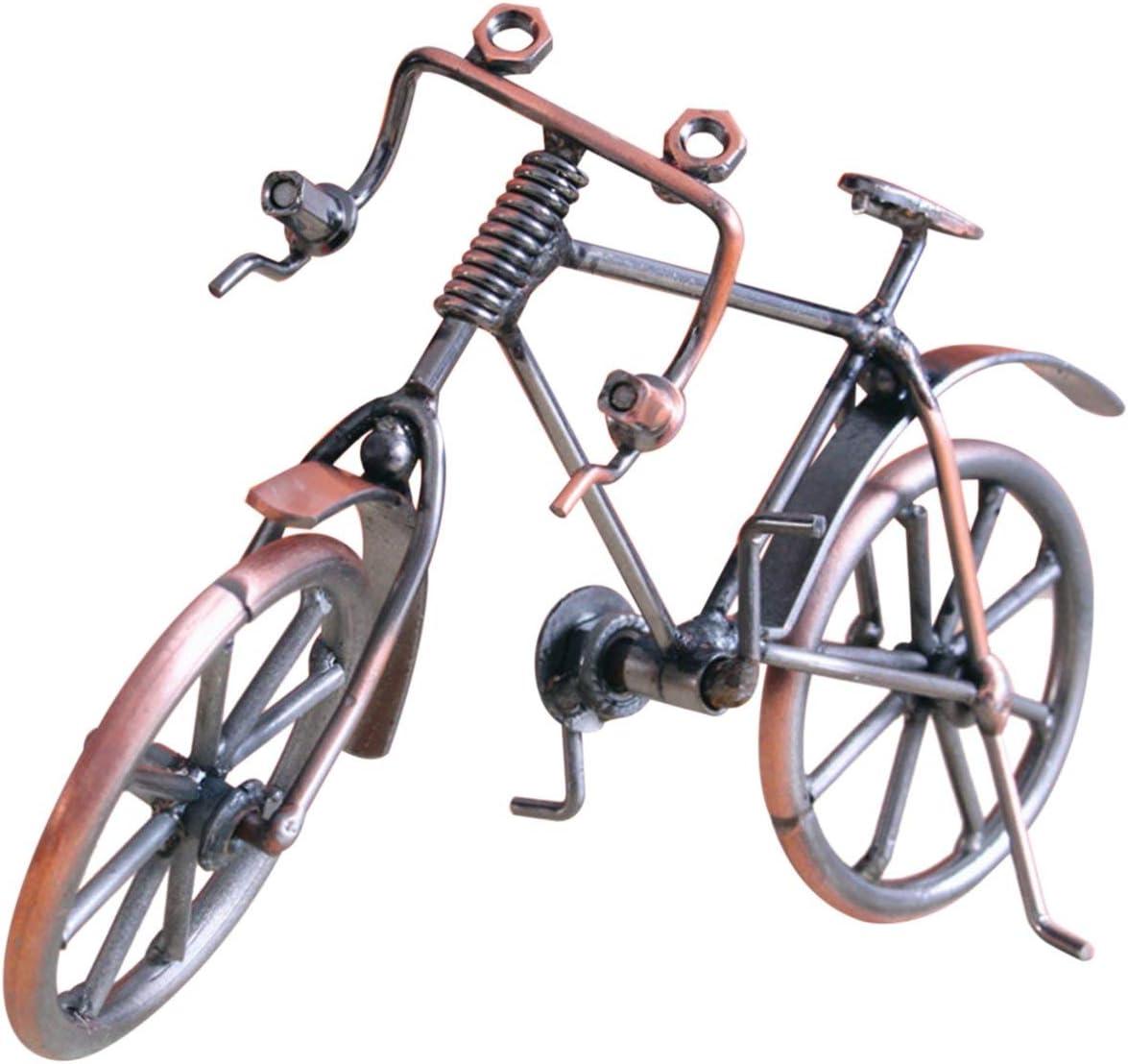 LoveOlvido Modelo de Bicicleta Antigua Metal Craft Decoración del hogar Bicicleta Figurita Miniaturas Niños Cumpleaños Juguete Regalos Pantalla de Escritorio Craft - Color Cobre