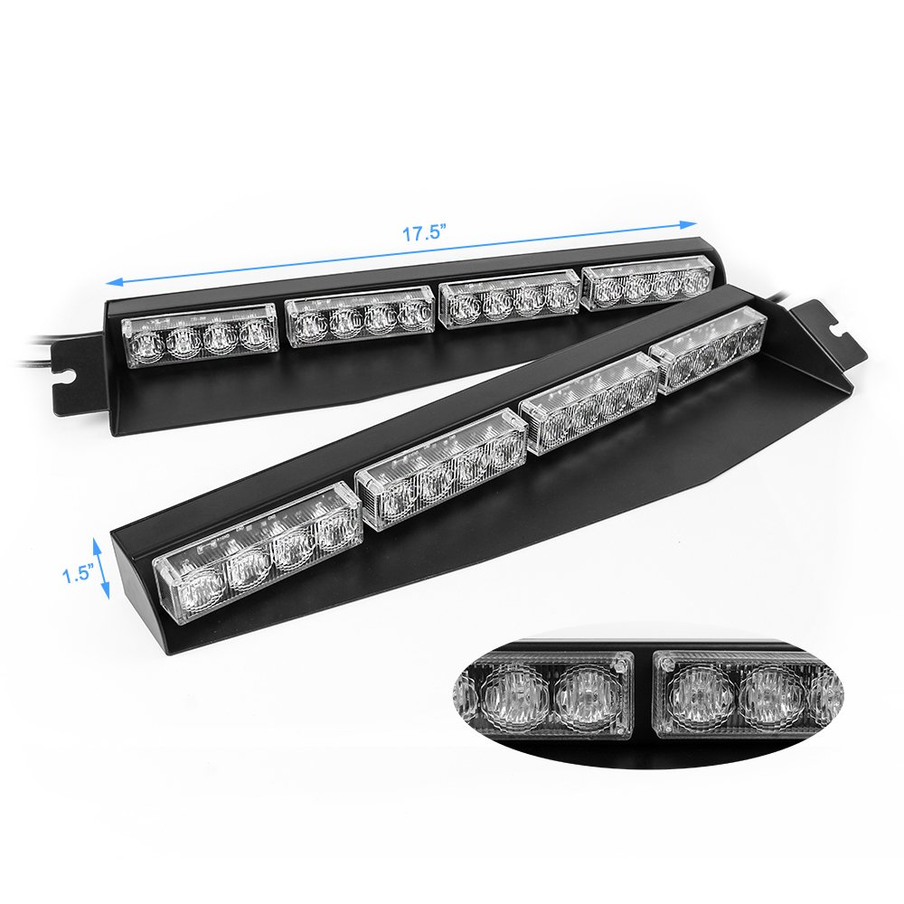 Amber/&Green 32W LED Lightbar Visor Light Windshield Emergency Strobe Split Mount Deck Dash Lamp