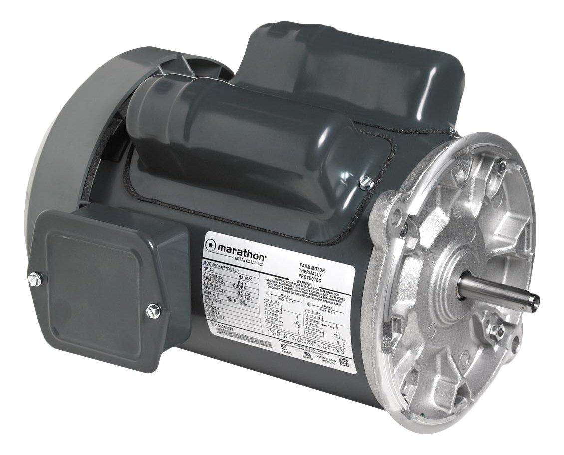 Marathon 5KC46JN0076U Farm Duty Auger Drive Motor, 1 Phase, TEFC, Rigid Base, Ball Bearing, 1/2 hp, 1800/1500 RPM, 2 Speeds, 115/208-230 VAC, 56NY Frame, Capacitor Start/Run