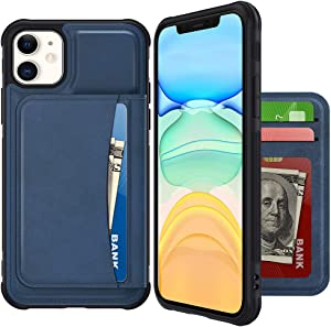 VEGO Wallet Case Compatible with iPhone 12 Mini with Credit Card Holder Slots, PU Leather Flip Kickstand Cover Magnetic Closure Case for iPhone 12 Mini 5.4 inches (2020) (Blue)