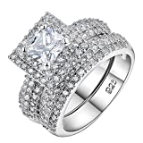 Newshe 2.7Ct Princess Cut White Cz 925 Sterling Silver Wedding Engagement Ring Set Size 5