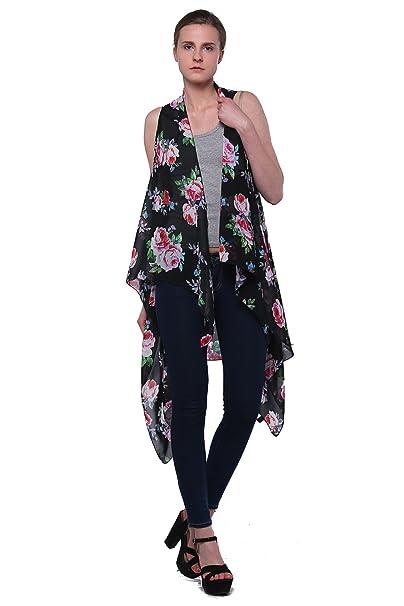 70a8527f3e36a Scarfand Floral Print Sleeveless Cardigan Vest (Black) at Amazon ...