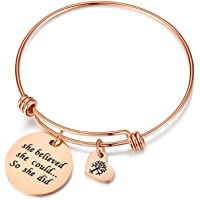 Studiocc Women Girl Jewelry She Believed She Could So She Did Bracelet with Heart Tree of Life, Gifts for mom,her
