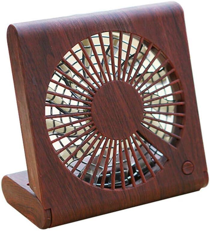 Meidexian888 Wood Grain Desktop Fan Portable Silent USB Charging Electric Cooling Fan Mini Notebook Fan C