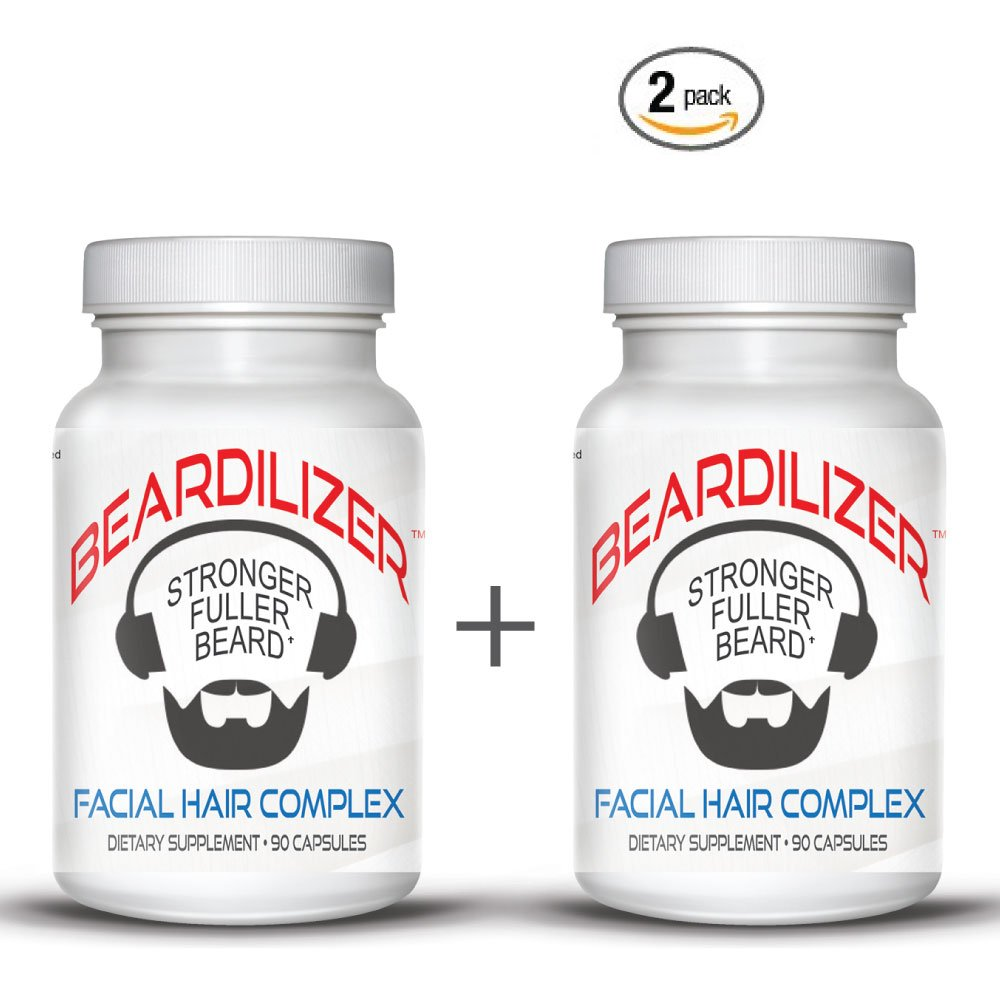Beardilizer ® - #1 Facial Hair and Beard Growth Complex for Men - 90 Capsules Powerful Nutrients Blend - VALUE PACKS (2)