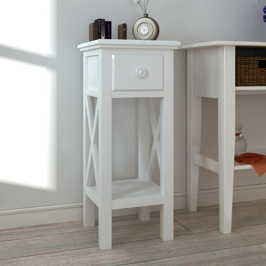 Anself Telephone Side Table Drawer, White, 27 x 27 x 65.5 cm