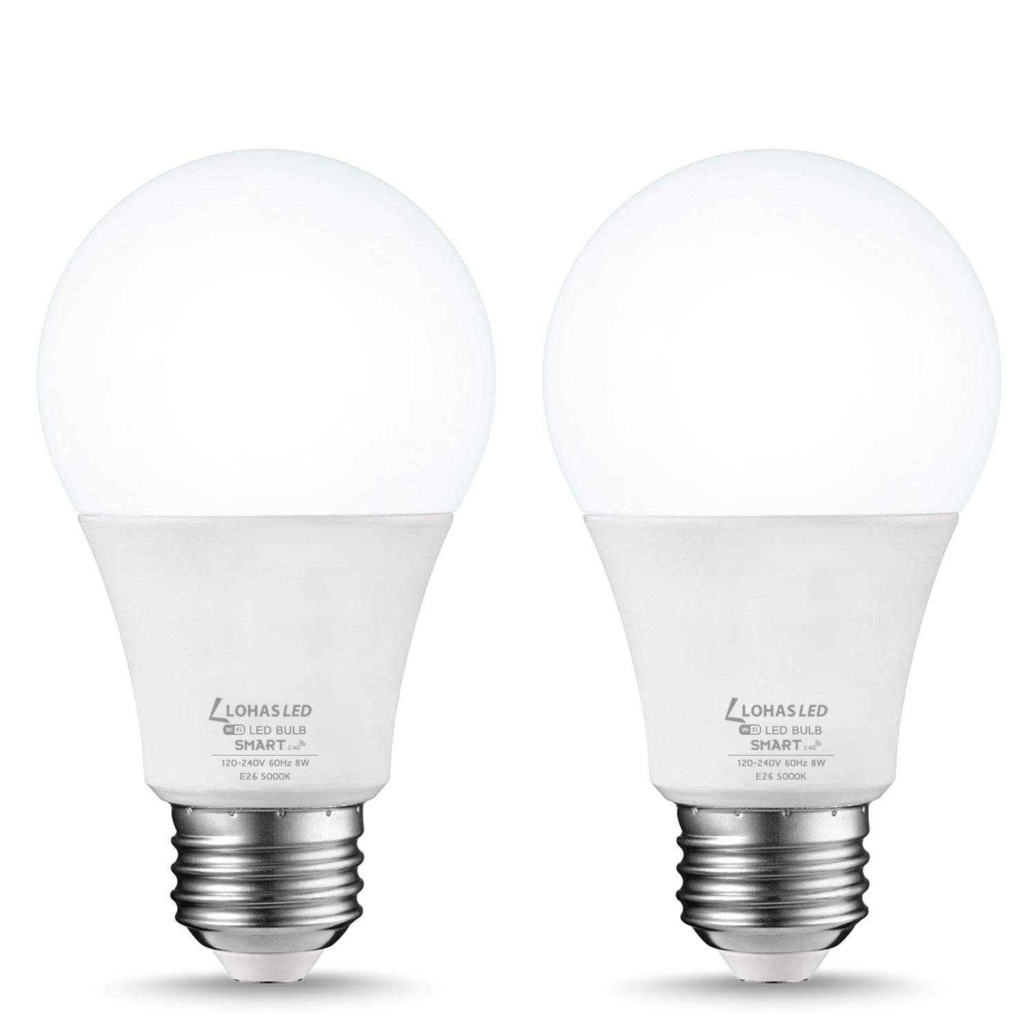 LOHAS Smart Wifi LED Light Bulb, A19 Daylight Dimmable LED Bulb, 50W(8W) Equivalent, Compatible with Alexa, Google Home Assistant, Remote Control by Smart Phone, E26 Base, No Hub Required, 2 Pack
