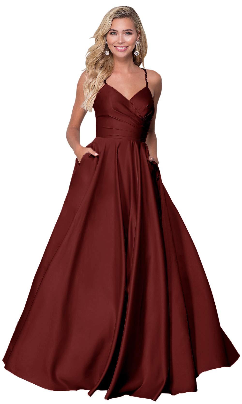 7c226eda3e27 Home/Brands/Zhongde Dresses/Zhongde Women's V Neck Open Back Beaded  Spaghetti Strap Satin Prom Dress Long Evening Gown Burgundy Size 8. ; 