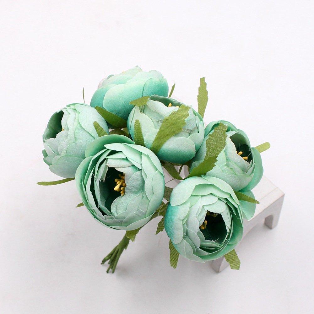 Amazon Silk Big Rose Tea Bud Artificial Flowers Bride Bouquet