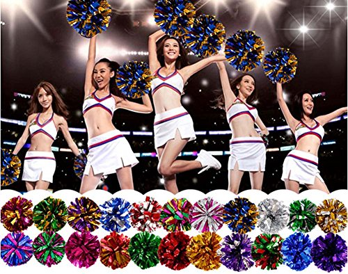 1 Cheerleading paire Pom Costume Accessoire Poms Gold Ball Purple Party SS61r