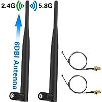Elekele® 2x 6 dBi Omni-direktionale Antenne RP-SMA-Buchse + 2x 30cm U.FL IPEX zu RP-SMA Pigtail Antenne WiFi Kabel