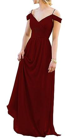 Amore Bridal Women Elegant Chiffon Bridesmaid Off Shoulder Prom Dress Long Evening Gown Burgundy, 2