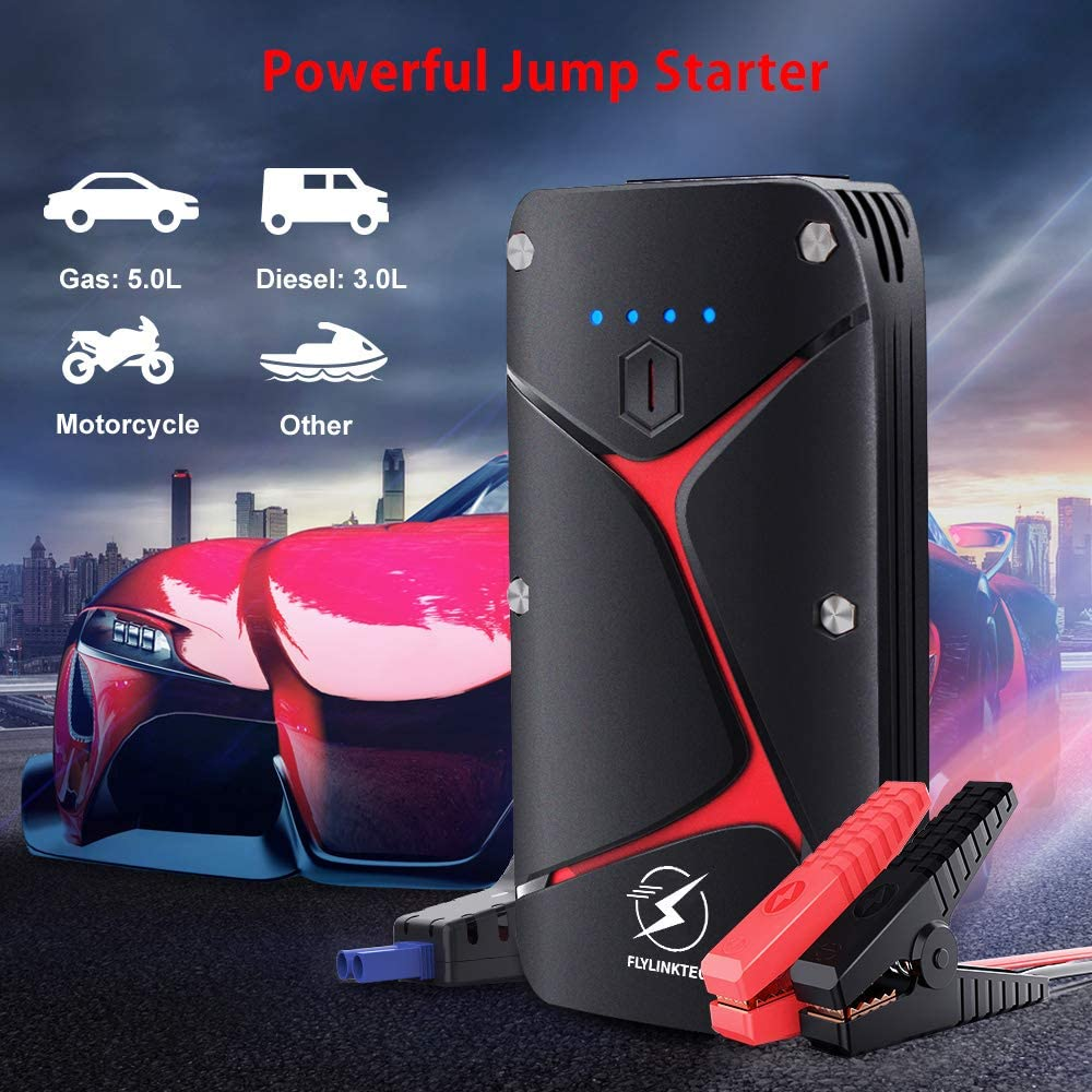 Car Battery Jump Starter,FLYLINKTECH 1000A Peak Current 15000mAh High Capacity 12V Portable Auto Battery Booster Pack with Smart Jumper Cable /& EC5 Adapter Up to 5.0 Gas or 3.0 Diesel Engine