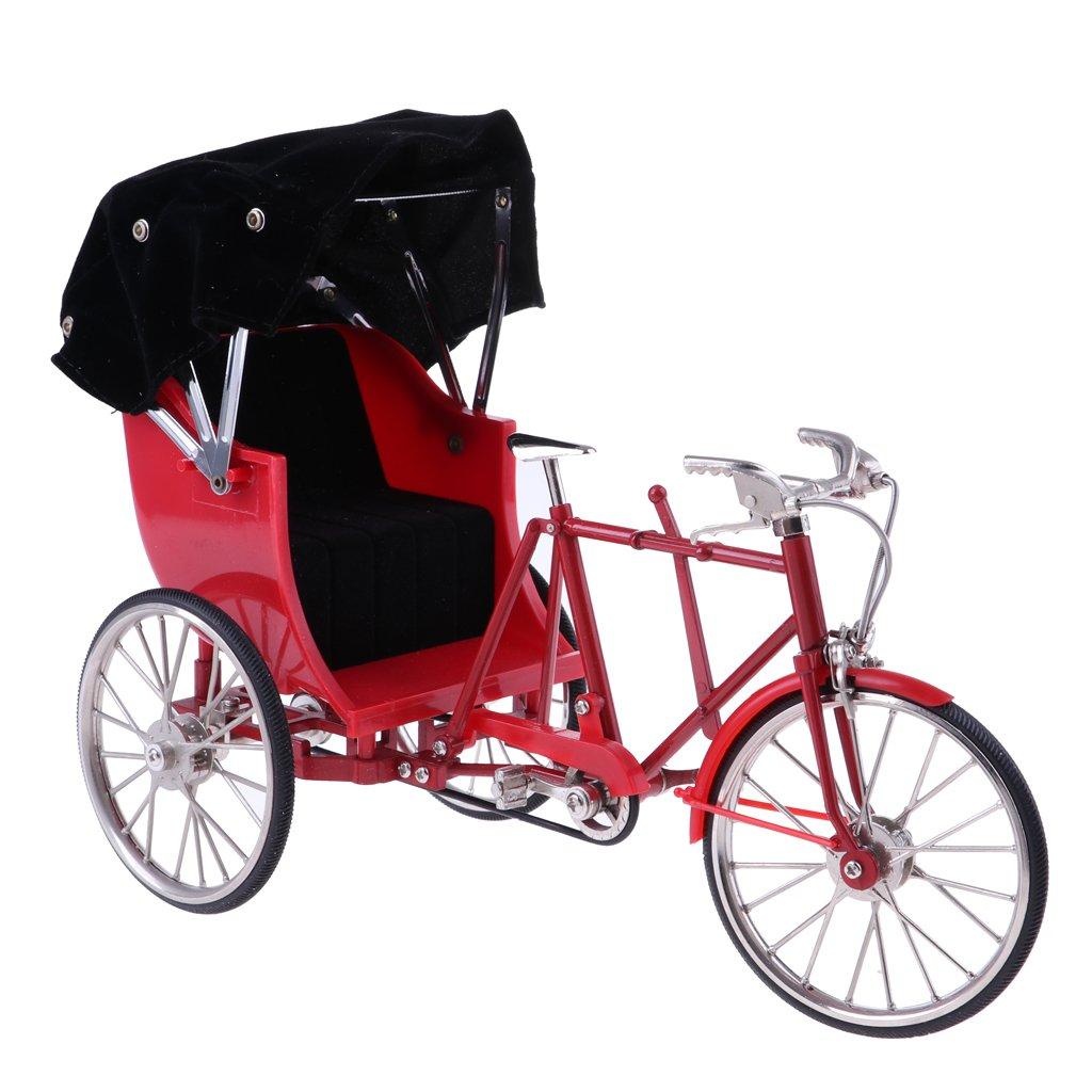 MagiDeal 1/10 Scale Handmade Alloy Rickshaws Bike Bicycle Model Dollhouse Garden Decoration Kids Gift