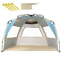ZOMAKE Automatik Strandmuschel mit Boden Sonnenschutz UV-Schutz, Windstabil, Kleines Packmaß, Strandmuschel für Erwachsene, Familie