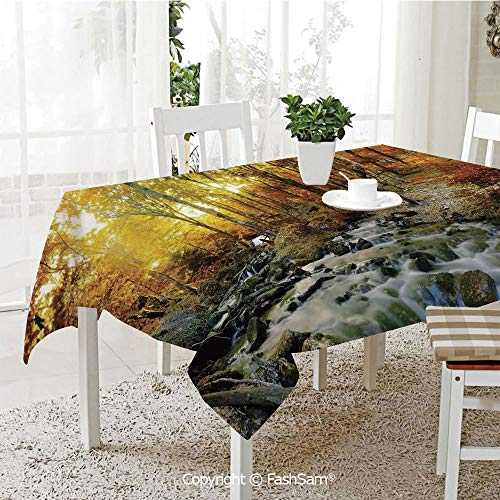 AmaUncle 3D Dinner Print Tablecloths Autumn River Creek Forest Falling Leaves Rocks Trees Foliage Sunbeams Branches Resistant Table Toppers (W60 xL84)]()