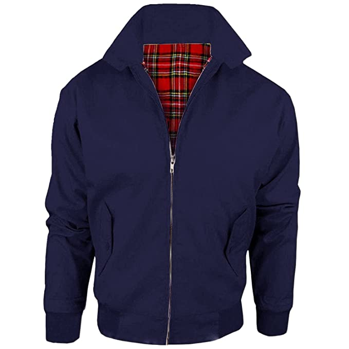 Men's Vintage Style Coats and Jackets VINTAGE HARRINGTON JACKET ADULTS CLASSIC UNISEX TARTAN LINING COAT TOP $34.27 AT vintagedancer.com