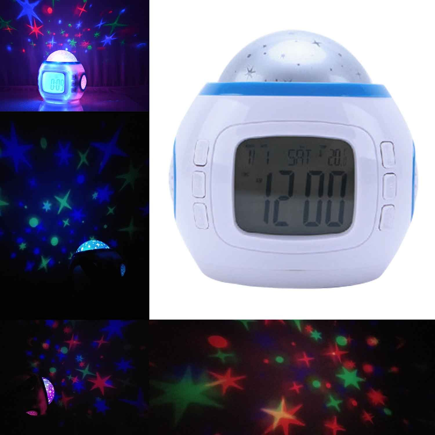 Star Sky Night Light Projector Lamp Music Digital Alarm Clock With Backlight Calendar Thermometer for Children Kids Christmas Gift By Sunshine Top