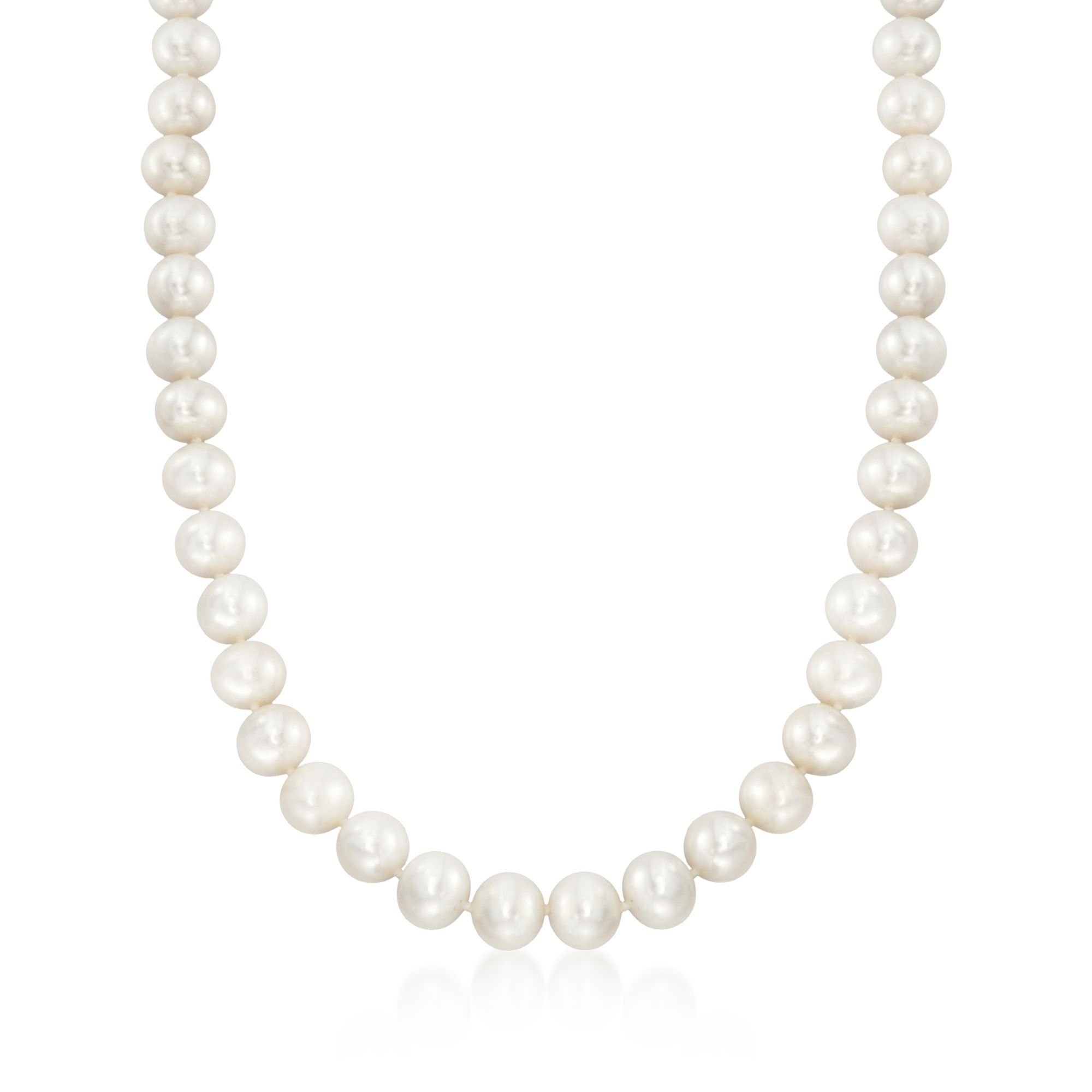 Ross-Simons Certified 10-11mm Cultured Pearl Necklace With 14kt Yellow Gold