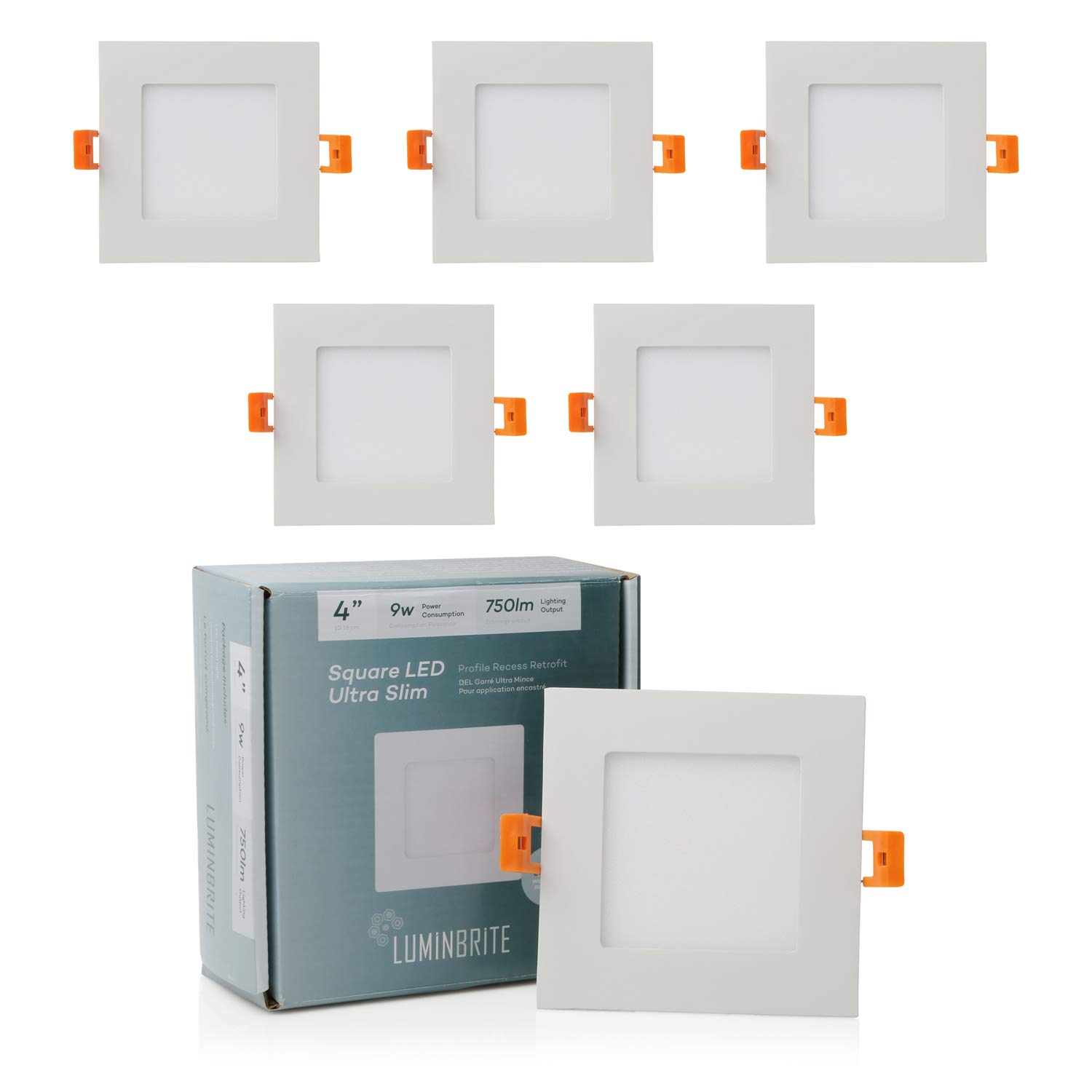 Lumin Brite Square Dimmable LED Recessed Ceiling Light Panel (4-Inch)| Residential 9W 750lm High Lumens | Slim Profile 4000K Disk Light for Home | ETL Listed/Energy Star Certification | White 6 Pack