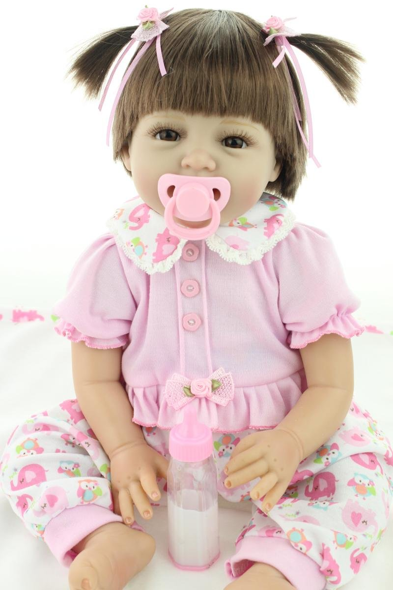 NPK Handmade Reborn Baby Doll Girl 22'' Realistic Soft Silicone Vinyl Lifelike Weighted Baby Toddler Gifts cute doll Pink outfit Gift Set for Ages 3+