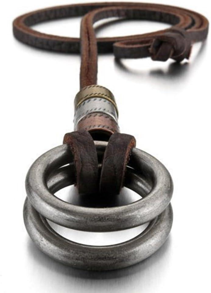 AIUIN 1PCS Aleación Genuina Cuero Colgante Collar El Tono De Plata Doble Anillo Ring Ajustable 16~26 Pulgada Cadena Hombre