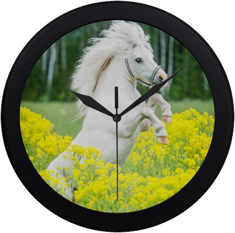 WYYWCY Moderno Simple Blanco Pony con Flores Amarillas Reloj de Pared Movimiento de Barrido Interior Pared Clcok para Oficina, baño, Sala de Estar Decorativo 9.65 Pulgadas