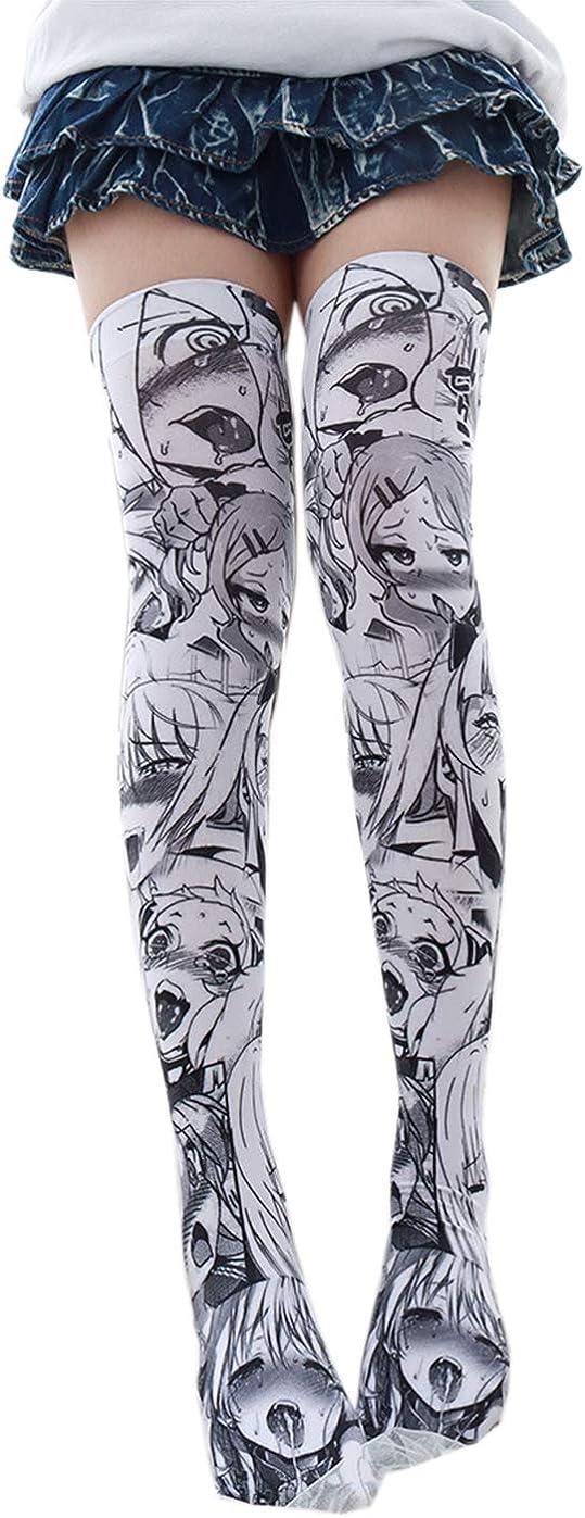 paloli 3D Ahegao Socks Unisex Print Japanese Tshirt Panty