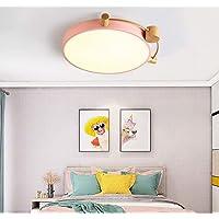 LED Kinderen Lamp Meisje plafond licht dimbaar met afstandsbediening Cartoon Round Wood Design plafondlamp Acryl Slaapkamer Woonkamer Eetkamer Licht Children's Room plafondverlichting, 39W [Energy Cla