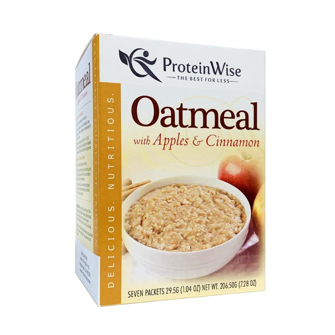 ProteinWise High Protein Instant Oatmeal, Apples and Cinnamon, Low Sugar, Low Fat, Low Cholesterol, Healthy Diet Food, Breakfast, 7 Packets/Box