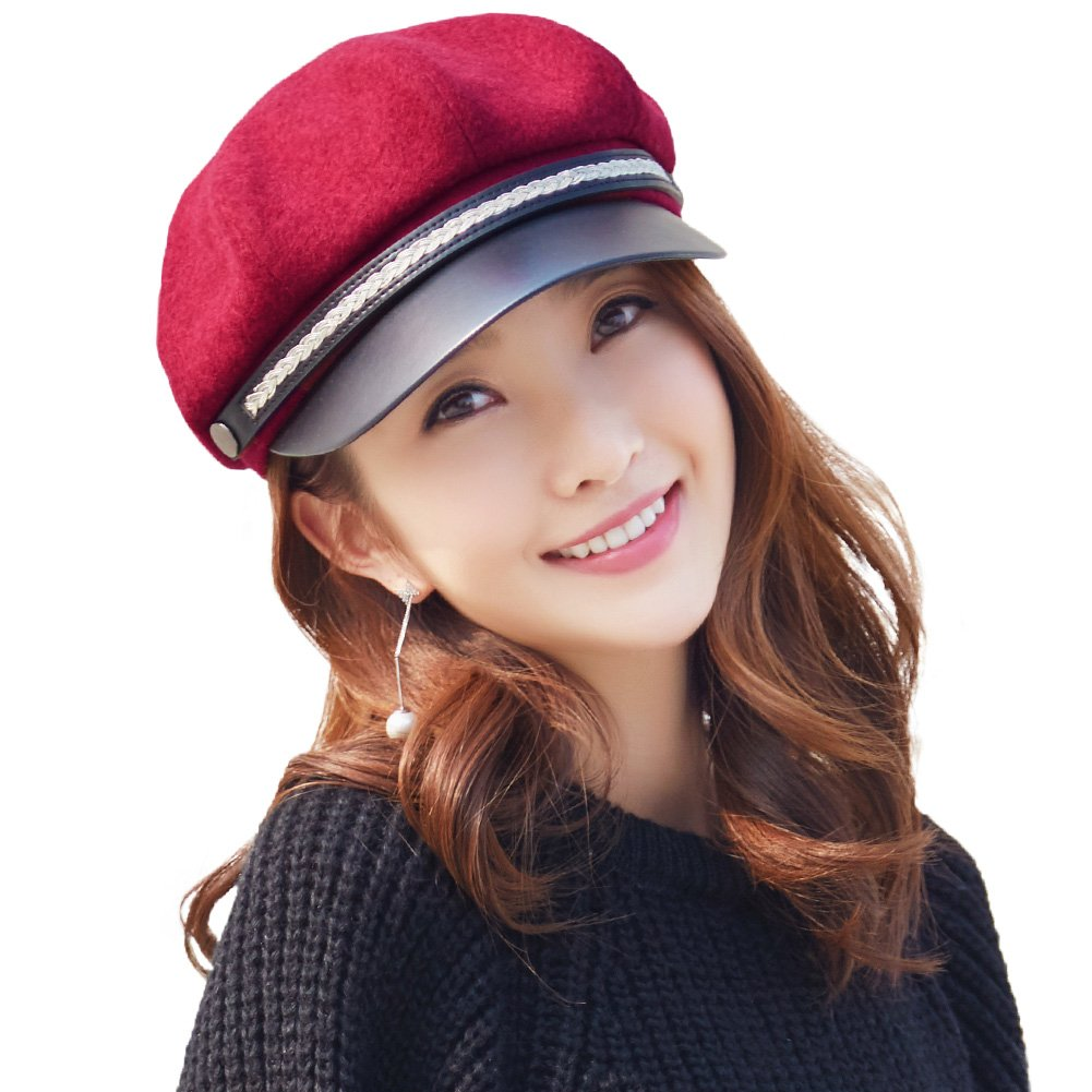 Siggi Womens Stylish Newsboy Cap Peaked Baker Boy Cap 8-Panels Beret PU Visor Cloche Hat for Ladies(3 Colors, 56-58CM) CM16058-1