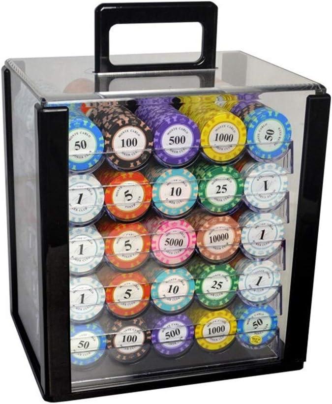TX GIRL 25PCS / Set Ton Poker Chips Casino Baccarat Crown Monte Carlo Design-Lehm-Poker-Lehm-Verbund Mit Trim Aufkleber 14g / PC (Color : 100) 100