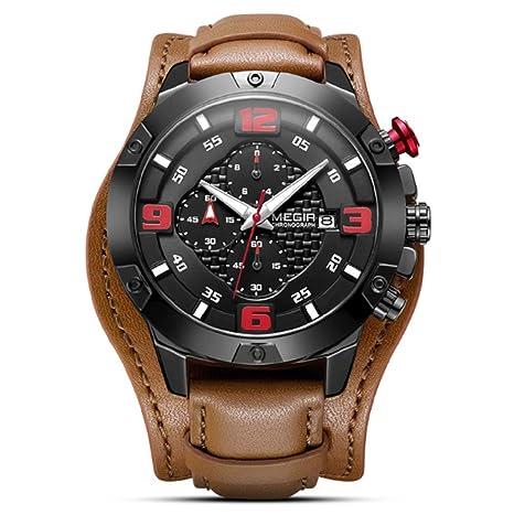 Big Mens Watches Luxury Brand Chronograph Quartz Watch Men with Leather Bracer Relogio Masculino Reloj Hombre