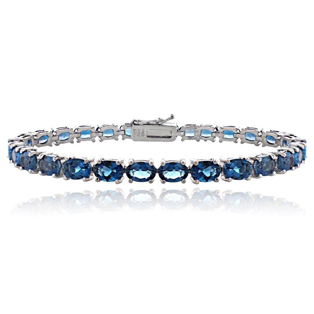Sterling Silver London Blue Topaz 6x4mm Oval Tennis Bracelet