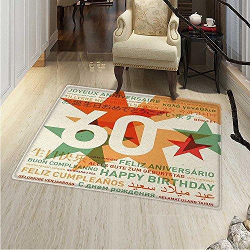 th Birthday Rug Kid Carpet World Cities Birthday Party Theme Abstract Stars Print Home Decor Foor Carpe 3'x4' Green Vermilion White -